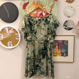 H&M watercolor green silky dress, Size 14